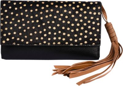 Phive Rivers Leather Tassel Fold Over Clutch Wallet Black - Phive Rivers Women's Wallets