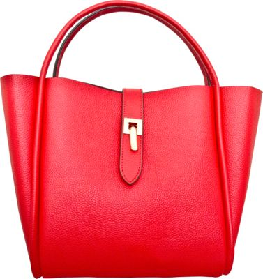 Leatherbay Cecita Tote Crimson Red - Leatherbay Leather Handbags