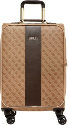 GUESS Travel Nissana 20 inch Expandable Spinner Carry-On Luggage Brown with Gold Hardware - GUESS Travel Softside Carry-On