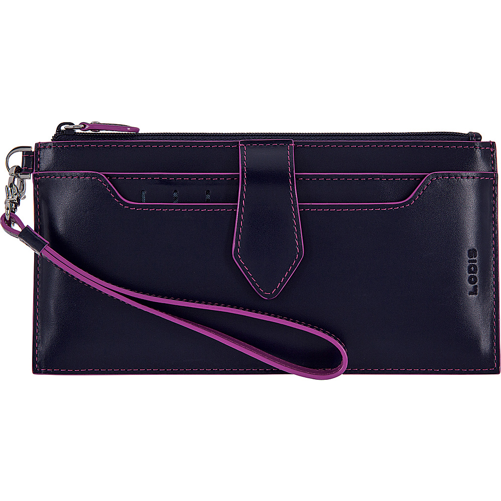 Lodis Audrey RFID Queenie Wallet With Removable Card Case Navy/Orchid - Lodis Womens Wallets - Women's SLG, Women's Wallets