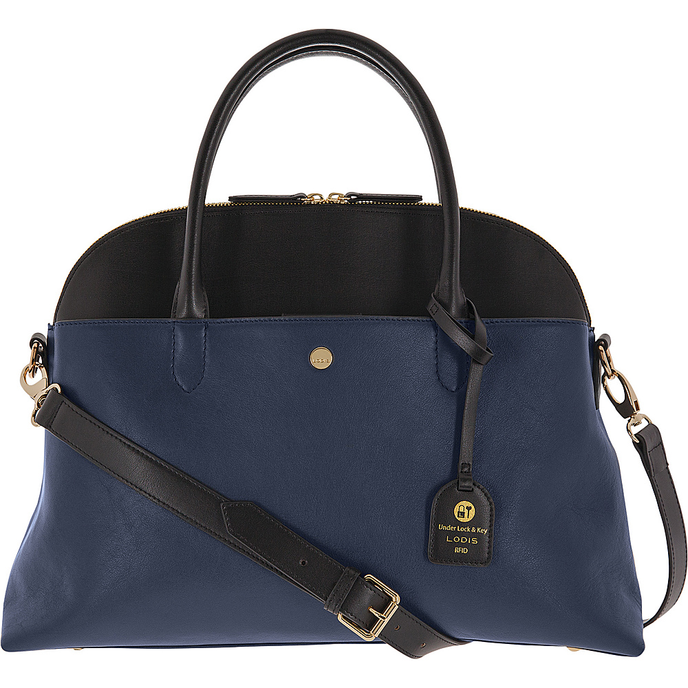 Lodis Downtown RFID Dominica Brief Navy/Black - Lodis Leather Handbags - Handbags, Leather Handbags