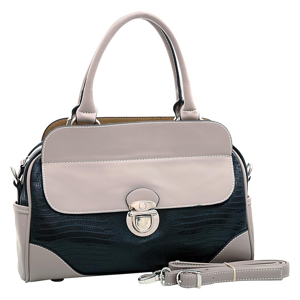 Dasein Matte Croco Texture Satchel with Buckle Accent & Shoulder Strap Black - Dasein Manmade Handbags - Handbags, Manmade Handbags
