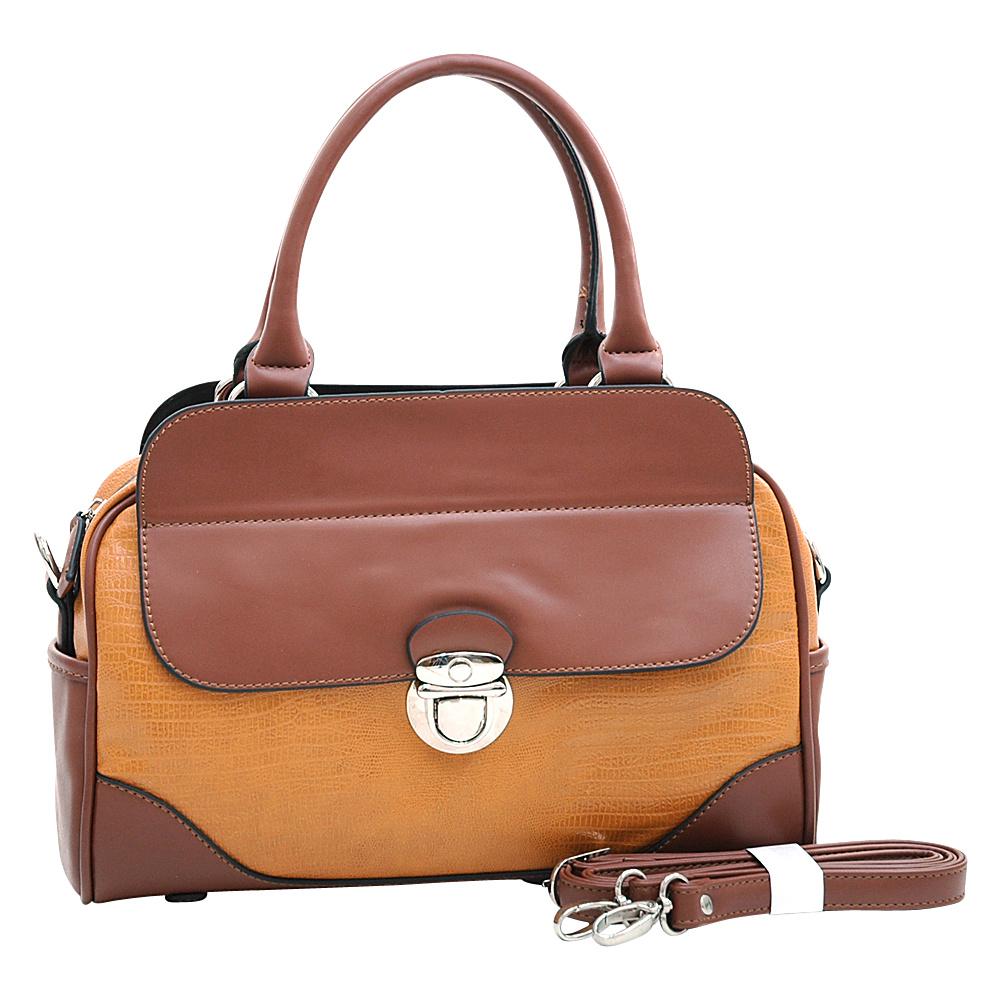 Dasein Matte Croco Texture Satchel with Buckle Accent & Shoulder Strap Tan - Dasein Manmade Handbags - Handbags, Manmade Handbags
