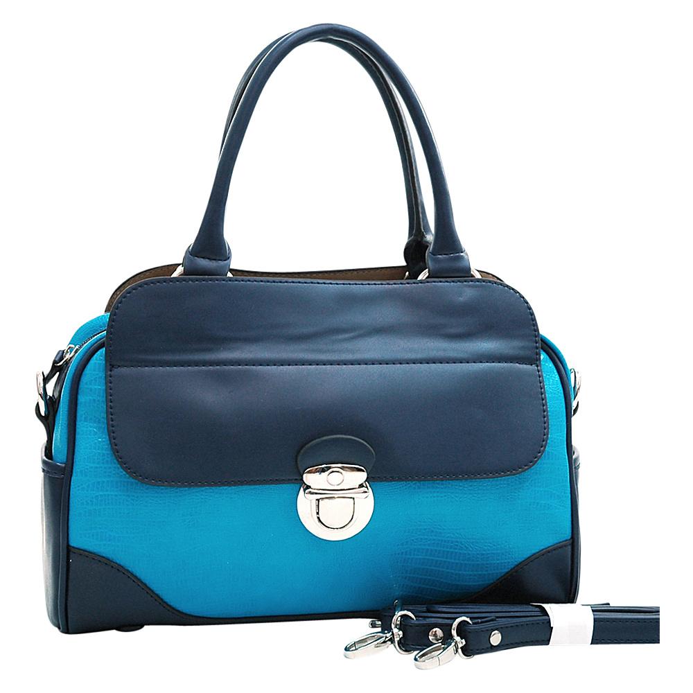 Dasein Matte Croco Texture Satchel with Buckle Accent & Shoulder Strap Blue - Dasein Manmade Handbags - Handbags, Manmade Handbags