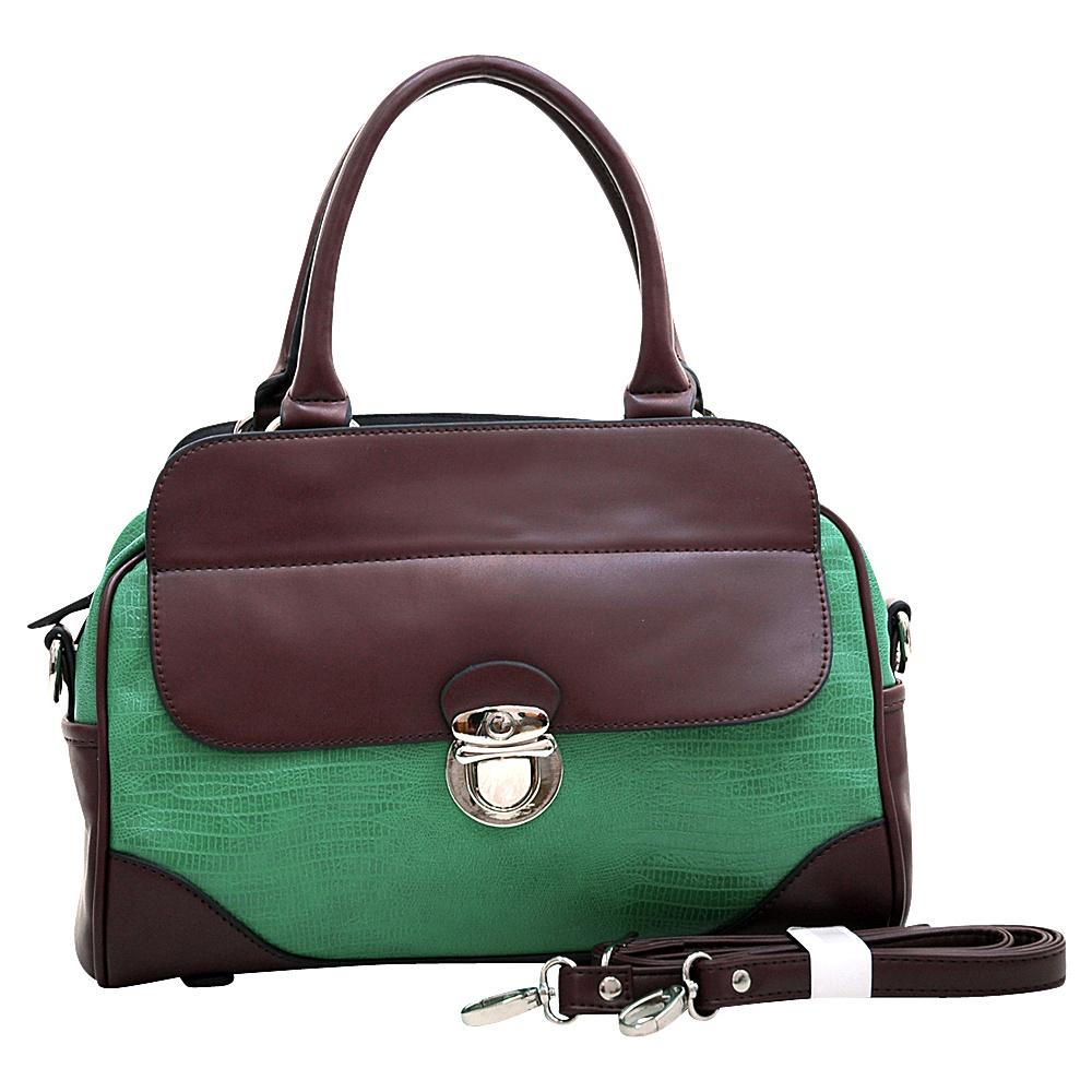 Dasein Matte Croco Texture Satchel with Buckle Accent & Shoulder Strap Green - Dasein Manmade Handbags - Handbags, Manmade Handbags