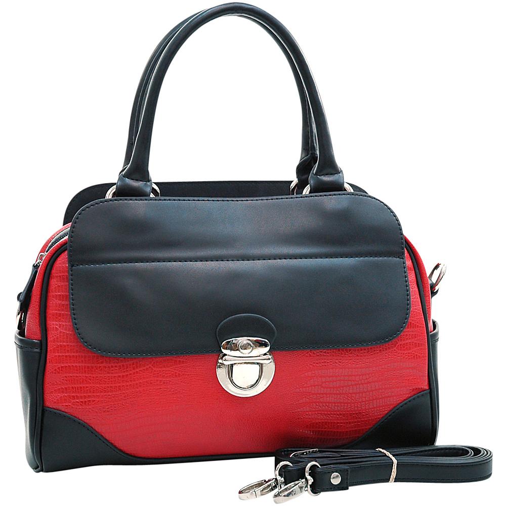 Dasein Matte Croco Texture Satchel with Buckle Accent & Shoulder Strap Red - Dasein Manmade Handbags - Handbags, Manmade Handbags