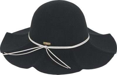 Image of Adora Hats Wool Felt Floppy Ruffle Brim One Size - Black - Adora Hats Hats/Gloves/Scarves