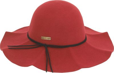 Image of Adora Hats Wool Felt Floppy Ruffle Brim One Size - Red - Adora Hats Hats/Gloves/Scarves