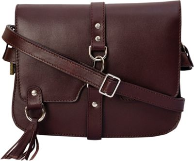 Phive Rivers Flapover Claw Lock Crossbody with Tassel Wine - Phive Rivers Leather Handbags