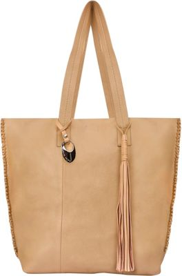 Phive Rivers Edged Leather Tassel Tote Beige - Phive Rivers Leather Handbags