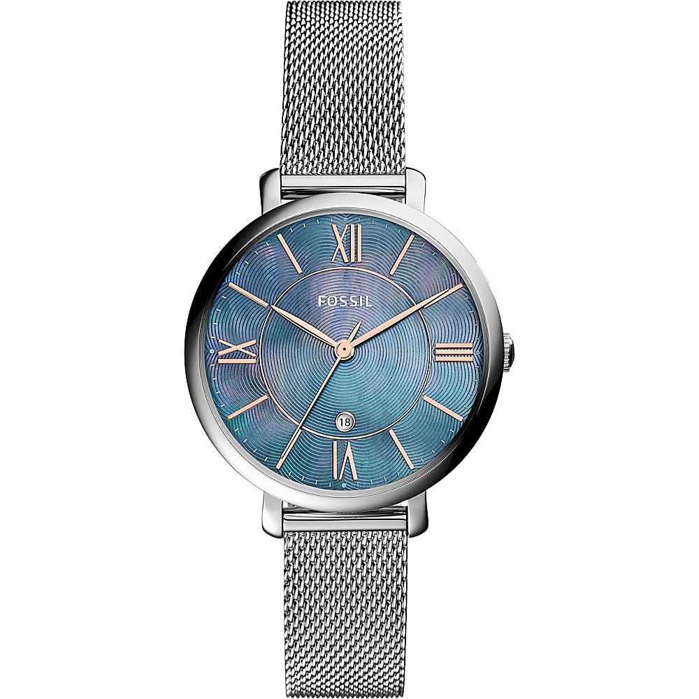 Fossil Jacqueline Three-Hand Date Stainless Steel Watch Silver - Fossil Watches - Fashion Accessories, Watches