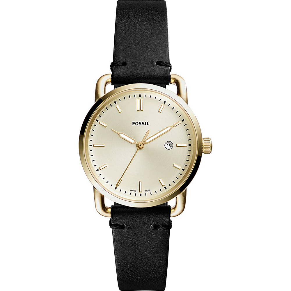 Fossil The Commuter Three-Hand Date Leather Watch Black - Fossil Watches - Fashion Accessories, Watches
