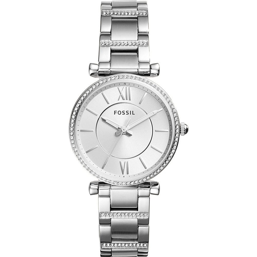 Fossil Carlie Three-Hand Stainless Steel Watch Silver - Fossil Watches - Fashion Accessories, Watches