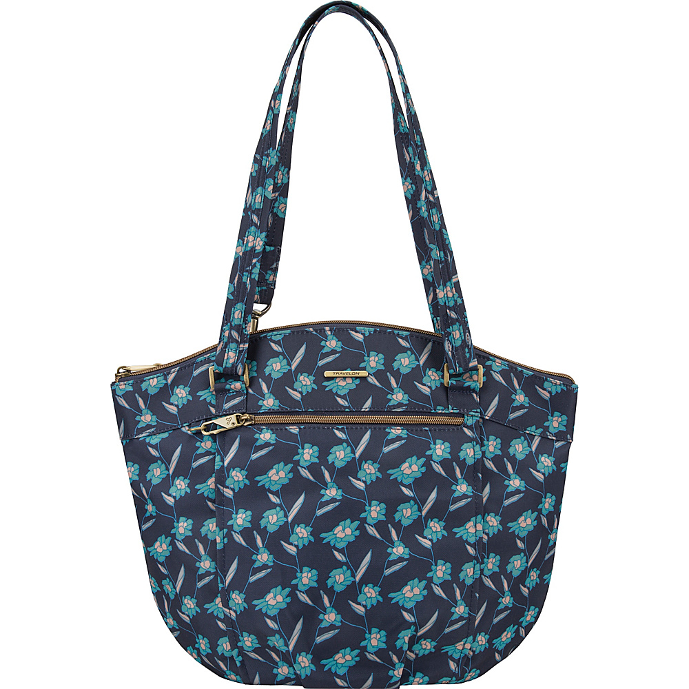 Travelon Anti-Theft Bucket Shoulder Bag with RFID - Exclusive Fractal Floral/Sand - Travelon Fabric Handbags - Handbags, Fabric Handbags