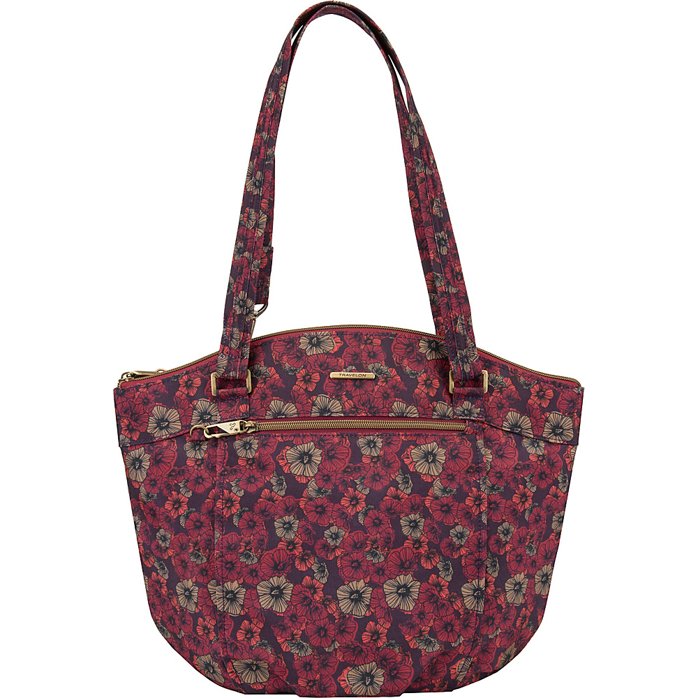 Travelon Anti-Theft Bucket Shoulder Bag with RFID - Exclusive Floral Fusion/Sand - Travelon Fabric Handbags - Handbags, Fabric Handbags