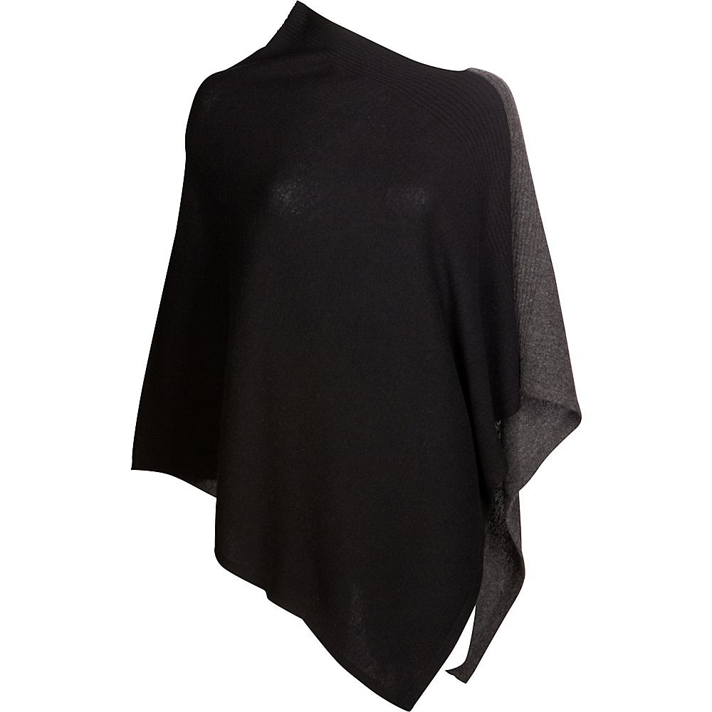 Kinross Cashmere Front Back Contrast Poncho One Size  - Black/Charcoal - Kinross Cashmere Womens Apparel - Apparel & Footwear, Women's Apparel