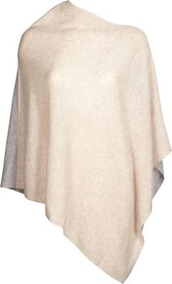 Kinross Cashmere Front Back Contrast Poncho One Size  - Fawn/Sterling - Kinross Cashmere Women's Apparel