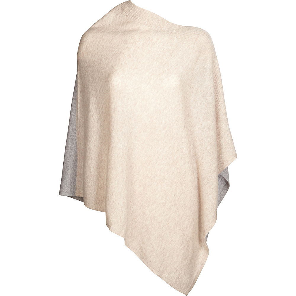 Kinross Cashmere Front Back Contrast Poncho One Size  - Fawn/Sterling - Kinross Cashmere Womens Apparel - Apparel & Footwear, Women's Apparel