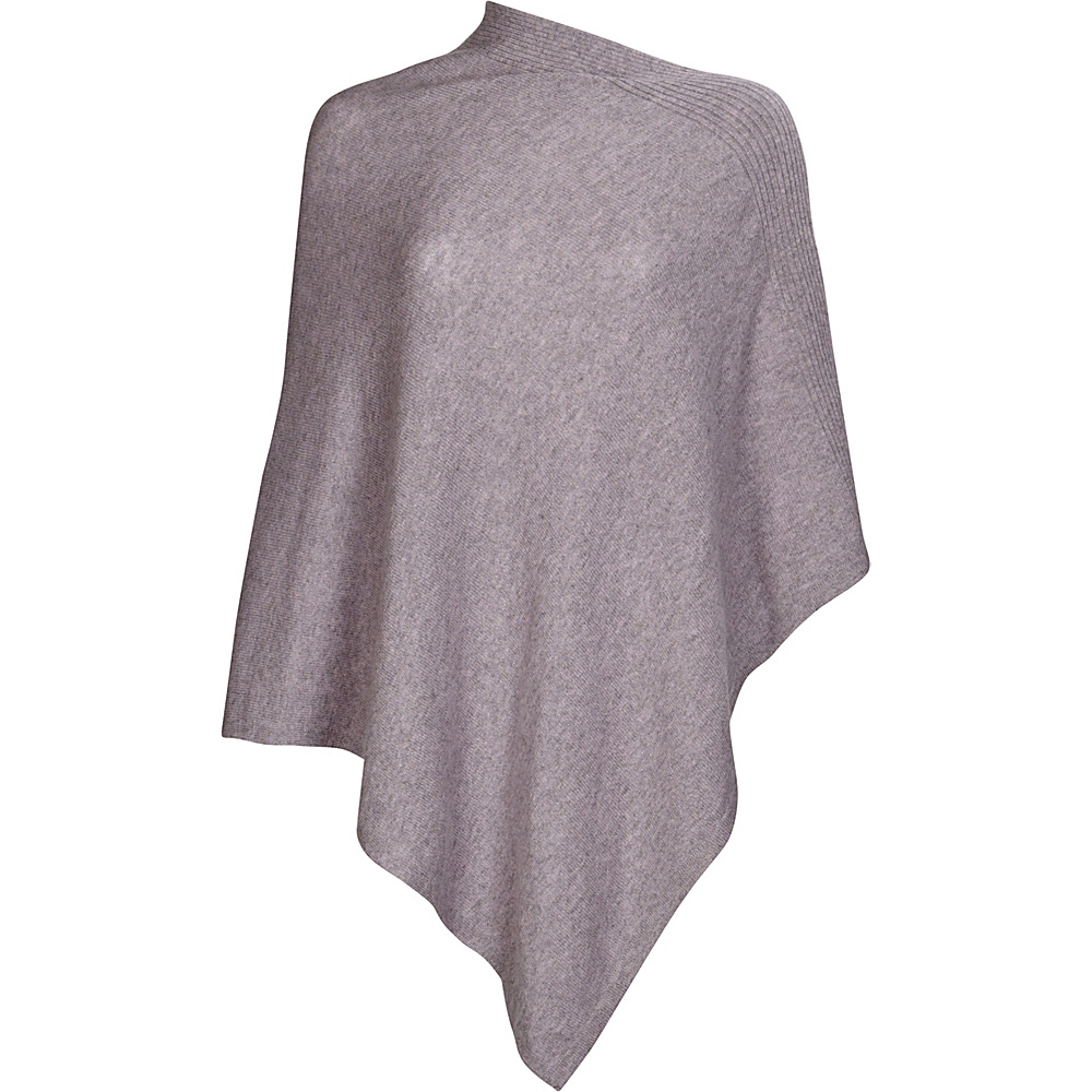 Kinross Cashmere Front Back Contrast Poncho One Size  - Thistle/Sterling - Kinross Cashmere Womens Apparel - Apparel & Footwear, Women's Apparel