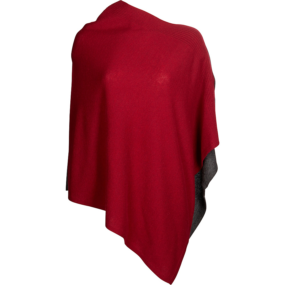 Kinross Cashmere Front Back Contrast Poncho One Size  - Vermillion/Charcoal - Kinross Cashmere Womens Apparel - Apparel & Footwear, Women's Apparel