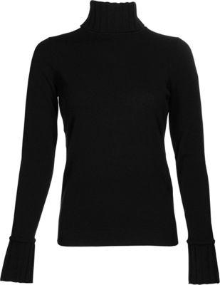 Kinross Cashmere Chunky Trim Turtleneck XS - Black - Kinross Cashmere Women's Apparel