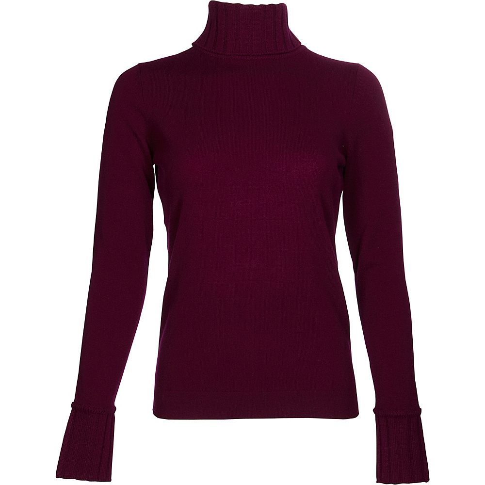 Kinross Cashmere Chunky Trim Turtleneck XS - Cassis - Kinross Cashmere Womens Apparel - Apparel & Footwear, Women's Apparel