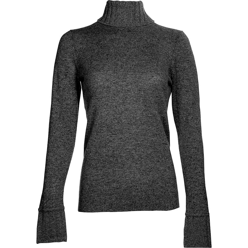 Kinross Cashmere Chunky Trim Turtleneck M - Charcoal - Kinross Cashmere Womens Apparel - Apparel & Footwear, Women's Apparel