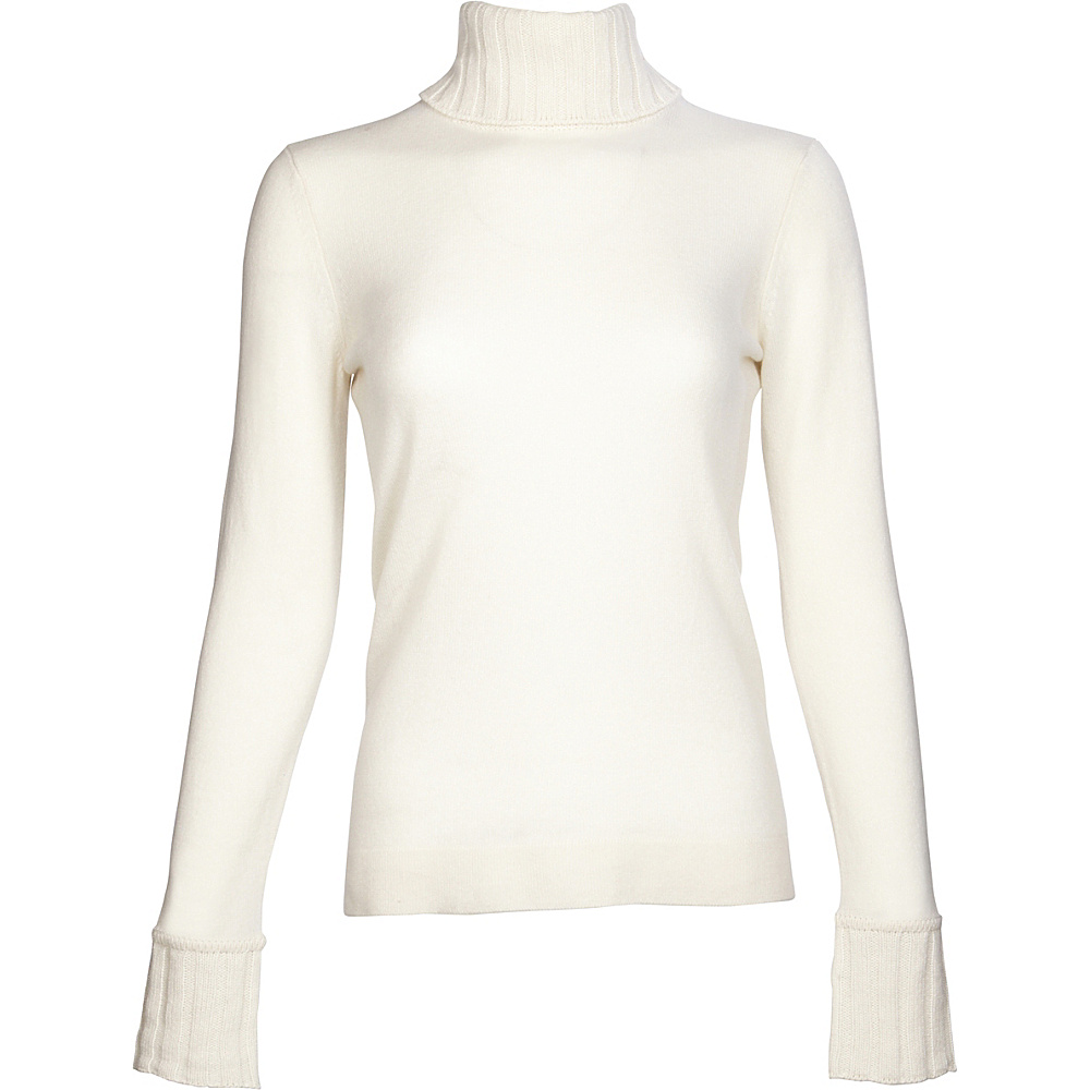 Kinross Cashmere Chunky Trim Turtleneck S - Ivory - Kinross Cashmere Womens Apparel - Apparel & Footwear, Women's Apparel