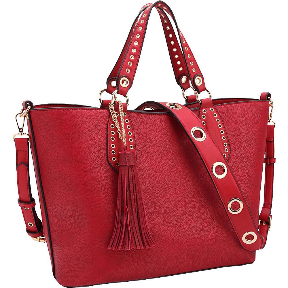 Dasein Womens Classic Fringed Grommet Tote Red - Dasein Manmade Handbags - Handbags, Manmade Handbags
