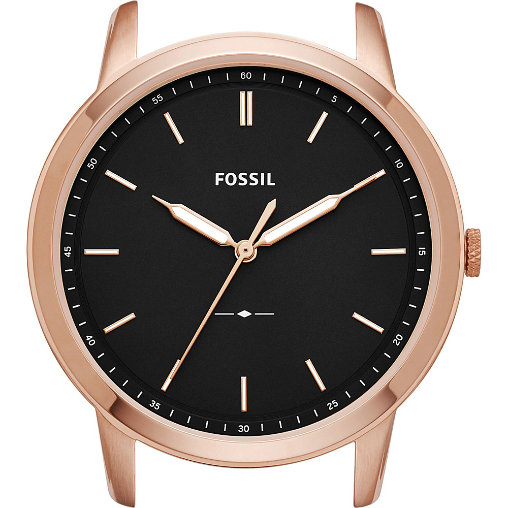 Fossil The Minimalist Slim Three-Hand Black Watch Case Rose Gold - Fossil Watches - Fashion Accessories, Watches