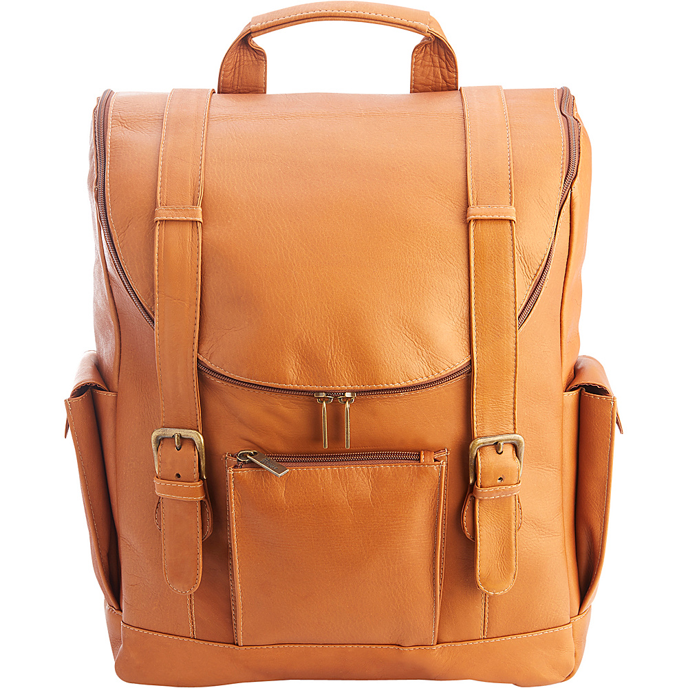 Royce Leather Colombian Leather Backpack with 15 Laptop Sleeve Tan - Royce Leather Business & Laptop Backpacks - Backpacks, Business & Laptop Backpacks