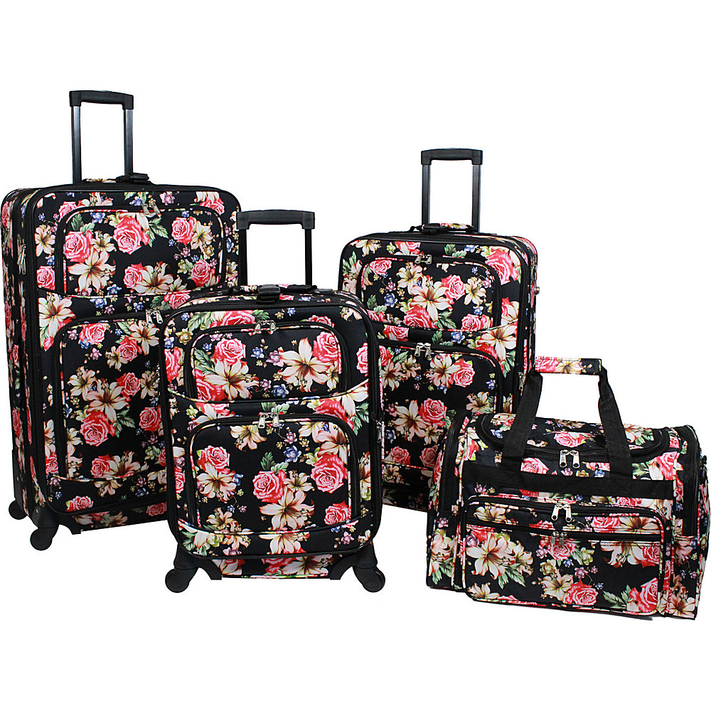 World Traveler Flower Bloom 4 Piece Rolling Expandable Spinner Luggage Set Flower Bloom - World Traveler Luggage Sets - Luggage, Luggage Sets