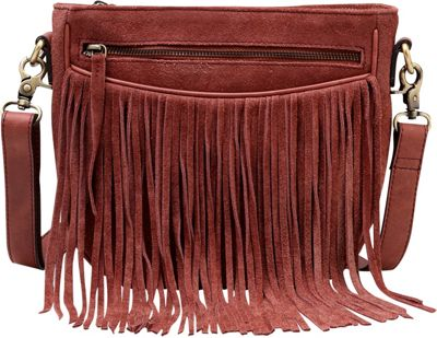 Vicenzo Leather Ivonne Suede leather Fringe Crossbody Handbag Chestnut - Vicenzo Leather Leather Handbags