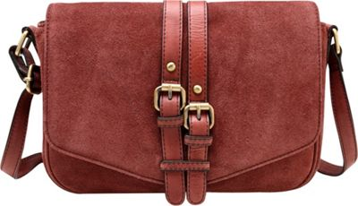 Vicenzo Leather Jeanie Suede Leather Crossbody Handbag Chestnut - Vicenzo Leather Leather Handbags