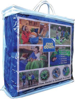 Cozidown Plush Convertible Blanket/Backpack - Adult Ocean Blue - Cozidown Travel Pillows & Blankets