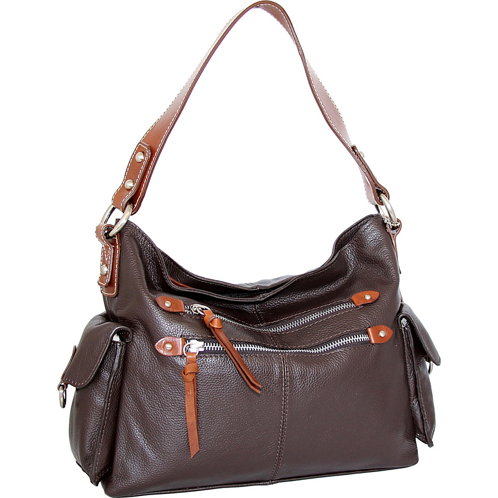 Nino Bossi Haleigh Hobo Chocolate - Nino Bossi Leather Handbags - Handbags, Leather Handbags