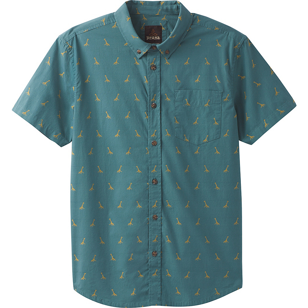 PrAna Broderick Embroidery Short Sleeve Shirt L - Starling Green - PrAna Mens Apparel - Apparel & Footwear, Men's Apparel