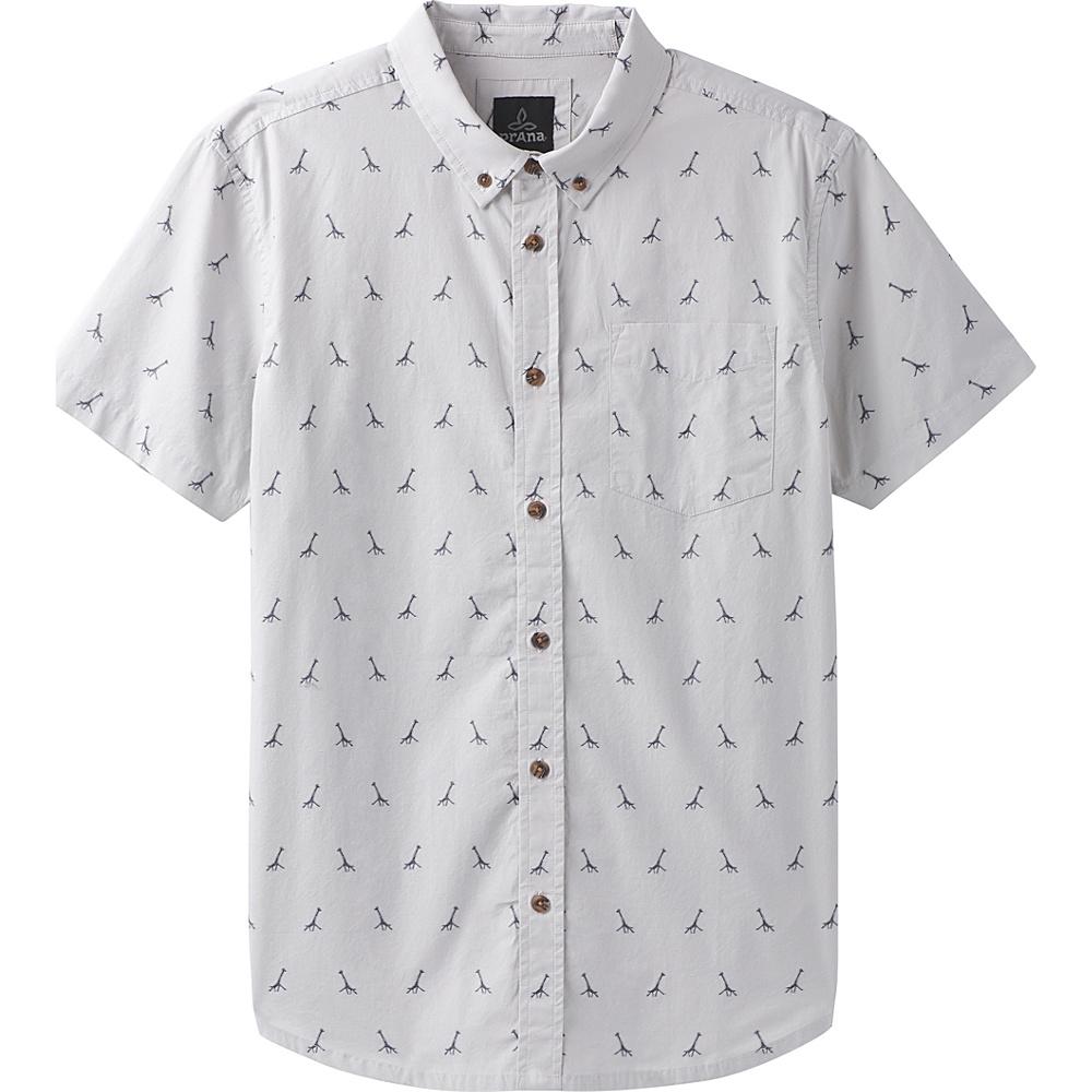 PrAna Broderick Embroidery Short Sleeve Shirt M - Titanium Grey - PrAna Mens Apparel - Apparel & Footwear, Men's Apparel
