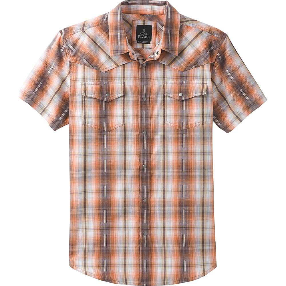 PrAna Holstad Short Sleeve Shirt XXL - Orange Haze - PrAna Mens Apparel - Apparel & Footwear, Men's Apparel
