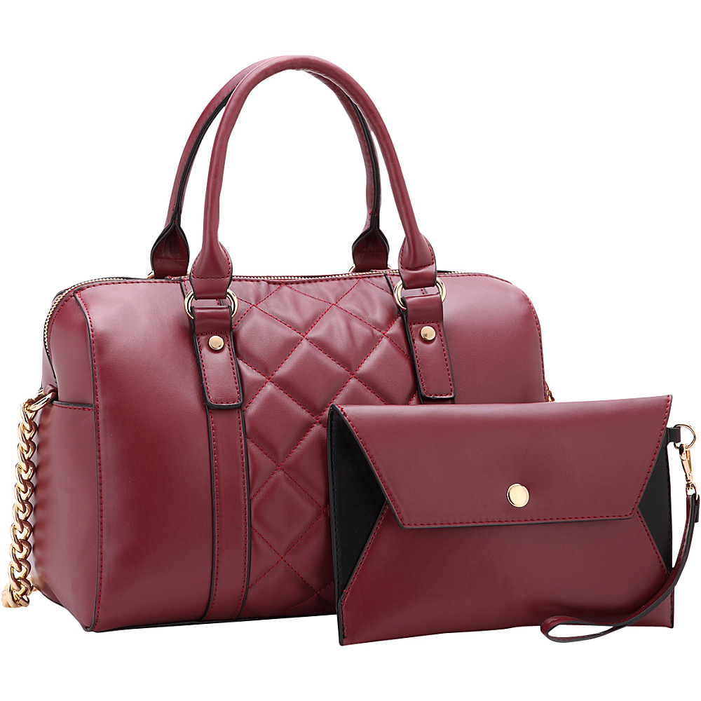 Dasein Quilted Satchel with Matching Wristlet Wine - Dasein Manmade Handbags - Handbags, Manmade Handbags