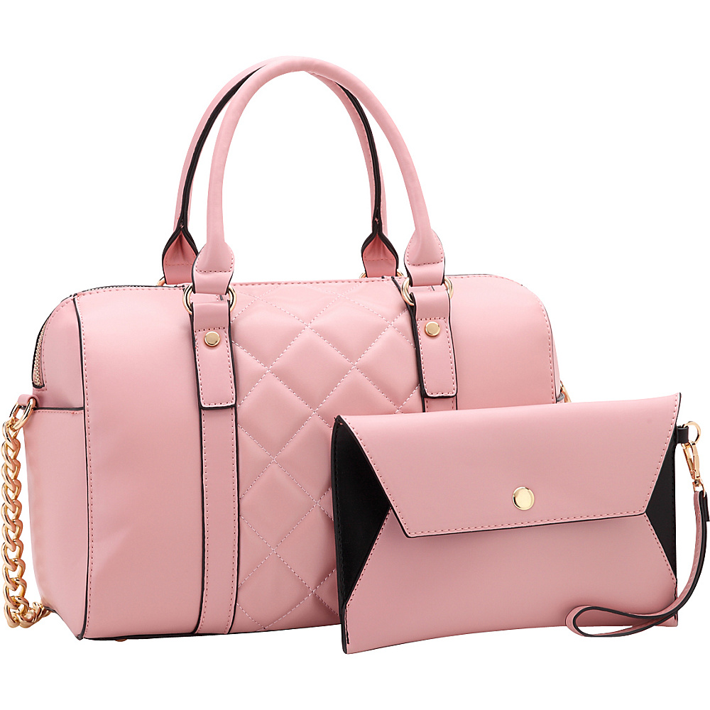 Dasein Quilted Satchel with Matching Wristlet Pink - Dasein Manmade Handbags - Handbags, Manmade Handbags