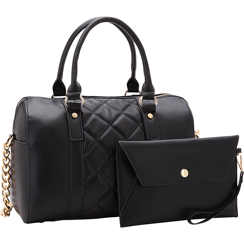 Dasein Quilted Satchel with Matching Wristlet Black - Dasein Manmade Handbags - Handbags, Manmade Handbags