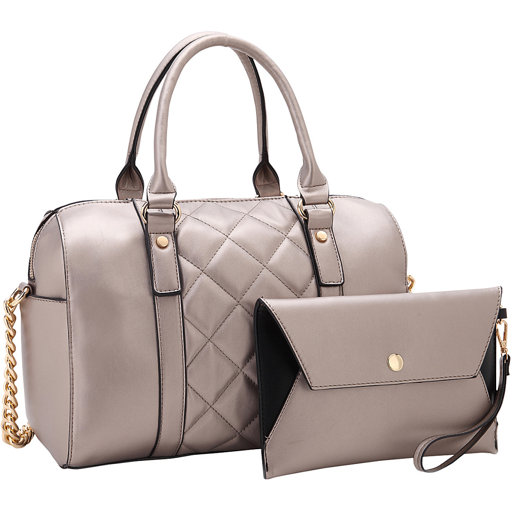 Dasein Quilted Satchel with Matching Wristlet Pewter - Dasein Manmade Handbags - Handbags, Manmade Handbags