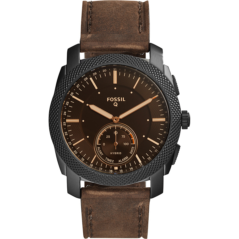 Fossil Q Machine Dark Brown Leather Hybrid Smartwatch Brown - Fossil Wearable Technology