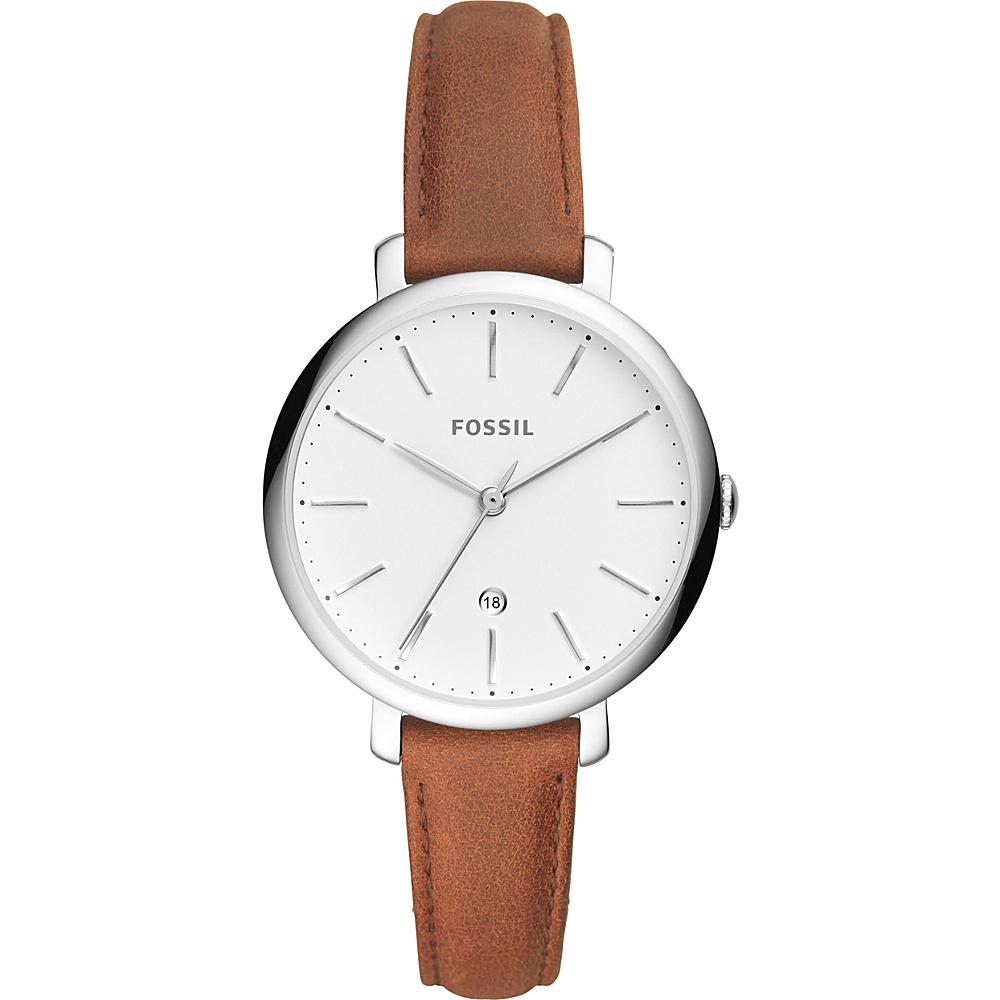 Fossil Jacqueline Three-Hand Date Brown Leather Watch Brown - Fossil Watches - Fashion Accessories, Watches