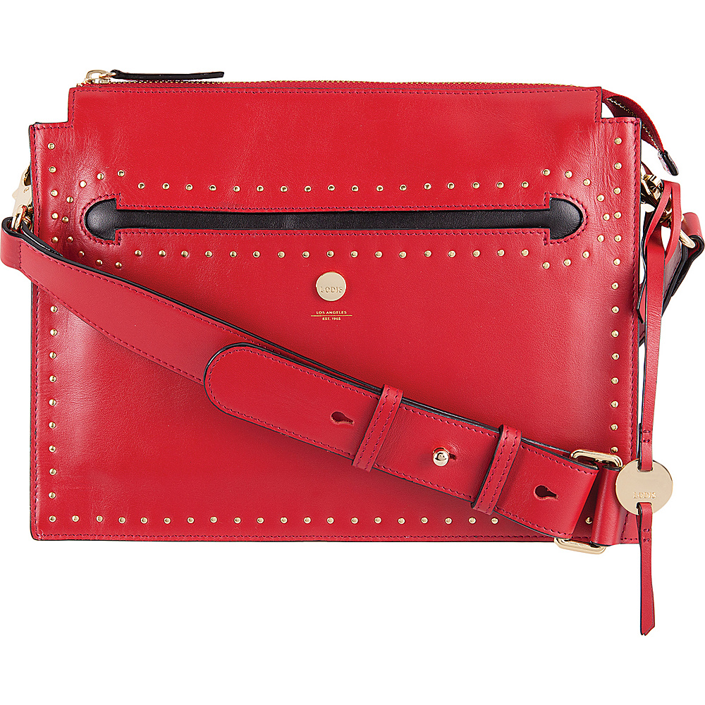 Lodis Pismo Stud RFID Dalia Large Accordion Crossbody Red - Lodis Leather Handbags - Handbags, Leather Handbags