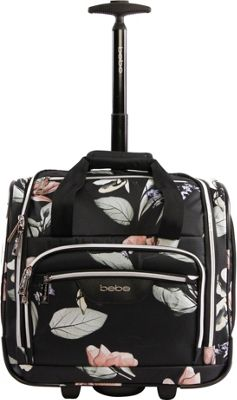 BEBE Valentina Wheeled Under the Seat Carry-On Bag Black Floral - BEBE Softside Carry-On