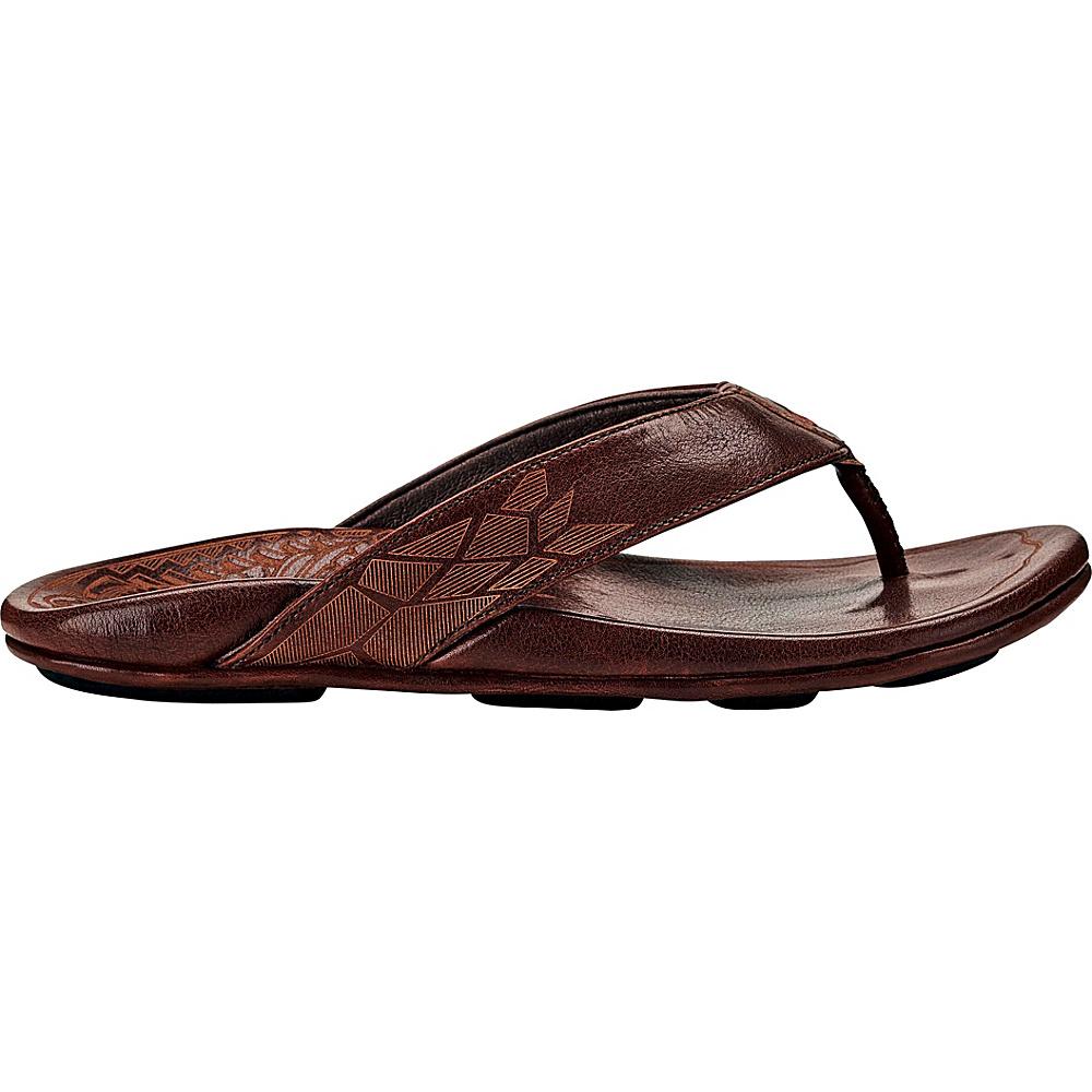 OluKai Mens Kulia Sandal 7 - Dark Wood/Dark Wood - OluKai Mens Footwear - Apparel & Footwear, Men's Footwear