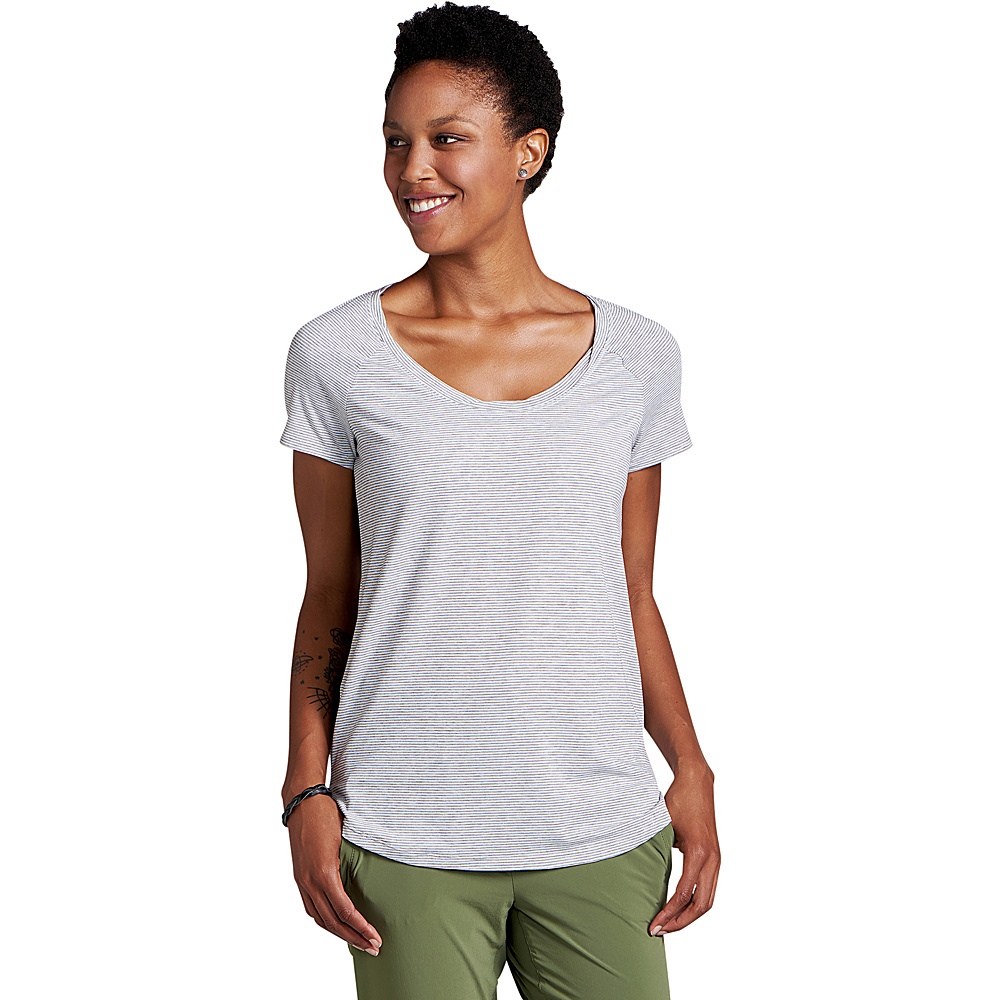 Toad & Co Womens Swifty Scoop Neck Tee XS - Egret Stripe - Toad & Co Womens Apparel - Apparel & Footwear, Women's Apparel
