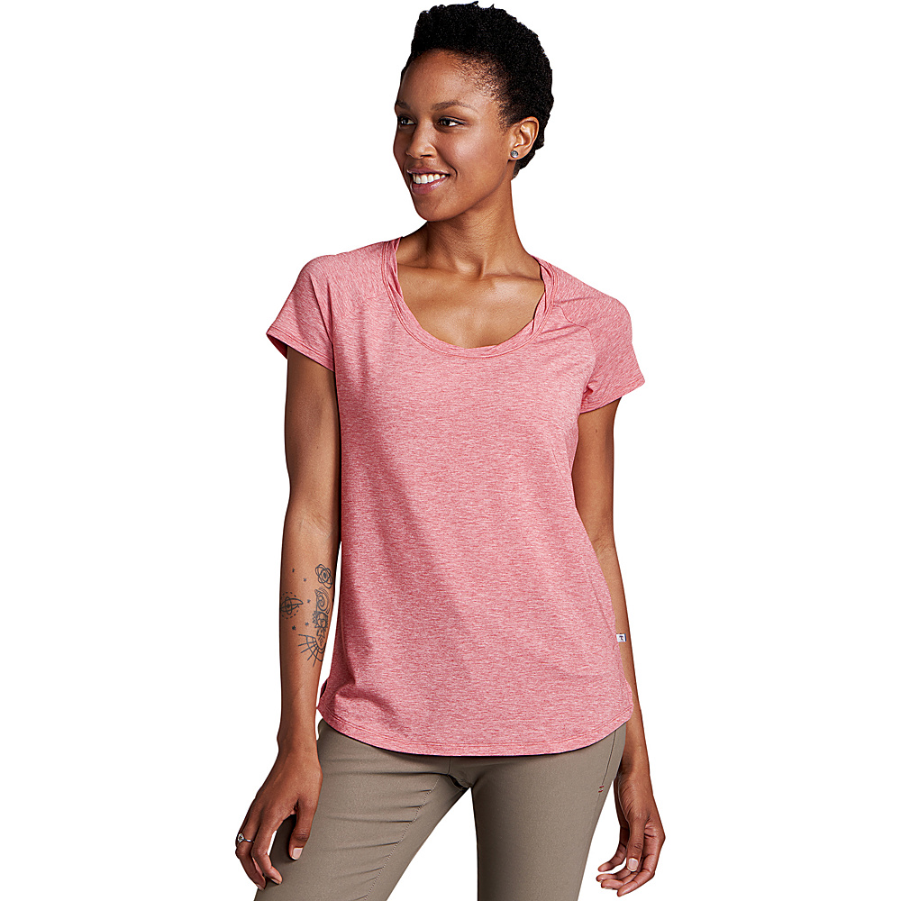 Toad & Co Womens Swifty Scoop Neck Tee XS - Guava Heather - Toad & Co Womens Apparel - Apparel & Footwear, Women's Apparel